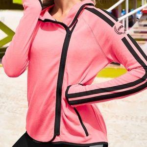 VS PINK High Low Coral Pink Asymmetrical Hoodie